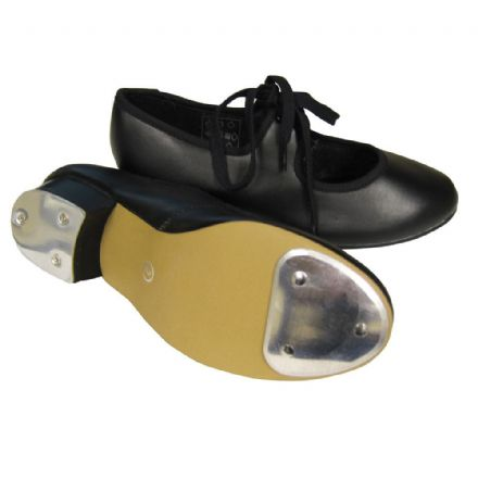 Low Heeled Tap Shoe - PU Upper With Fitted Heel and Toe Taps